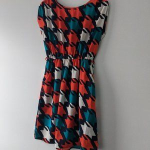 Peppermint V-Back Dress Orange Teal Size Small